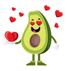 avocado in love on white background vector image