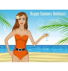 Beautiful woman drinking a cocktail on the beach vector