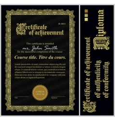 Black and gold certificate template vertical vector image yelopaper Images