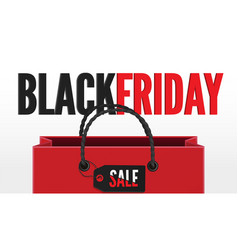 black friday sale 3d banner template with shopping vector image