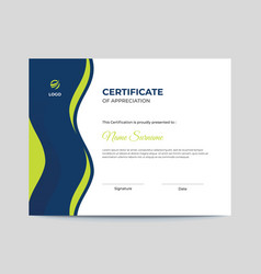 Blue and green waves certificate design vector
