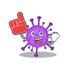 Bovine coronavirus mascot cartoon with foam finger vector