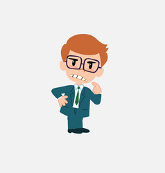 Businessman with glasses ponders something angry vector