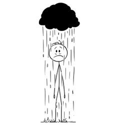 Cartoon man or businessman standing in rain vector
