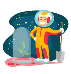 Caucasian astronaut planting tree on a new planet vector