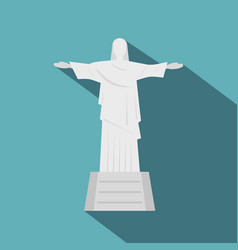 christ the redeemer statue icon flat style vector image