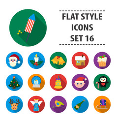 christmas day set icons in cartoon style big vector image