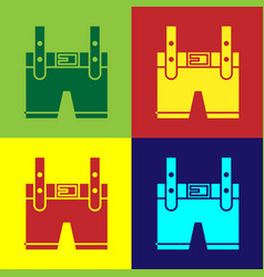 Color lederhosen icon isolated on color background vector