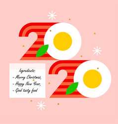 colorful numbers 2020 look like eggs with bacon vector image