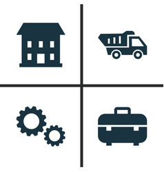 Construction icons set collection of truck vector