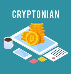 cryptonian concept smartphone coin blue background vector image
