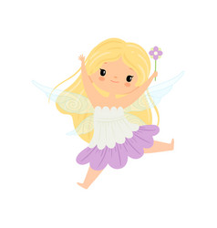 Cute blonde little winged fairy beautiful flying vector