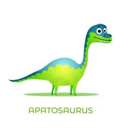 cute dinosaur apatosaurus cartoon drawn for tee vector image