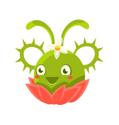cute fantastic green succulent plant character vector image
