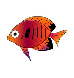 cute multicolor sea-fish in cartoon style vector image