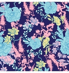 Dark Blue Yellow Pink Kimono Floral vector image