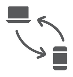 Data transferring from laptop to smartphone glyph vector