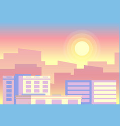 Day time view early morning sunrise city vector