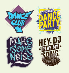dj party hand lettering set vector image
