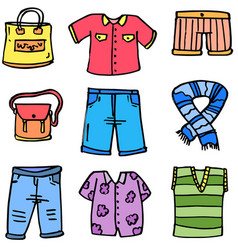 doodle of women clothes set colorful vector image