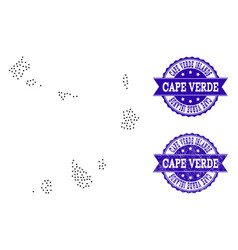 Dotted map of cape verde islands and grunge seal vector