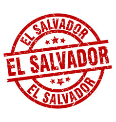 El salvador red round grunge stamp vector