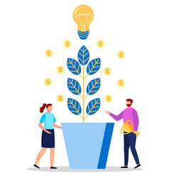 employee near coin plant and light bulb vector image