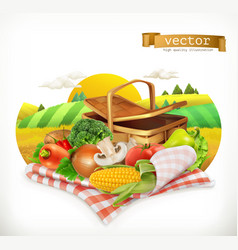 farm and harvest realistic vegetables corn tomato vector image