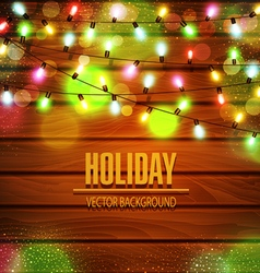 festive background of luminous garlands of lights vector image