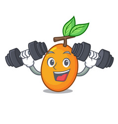 Fitness juicy yellow plums with leaves cartoon vector