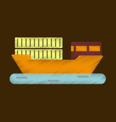Flat icon in shading style ship with containers vector