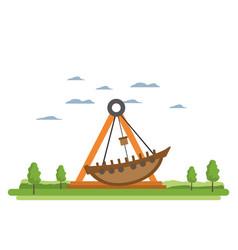 Funny mechanical ship ride carnival vector