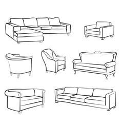 furniture set interior room furnishing bed sofa vector image