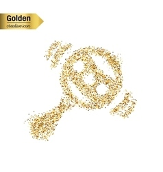 Gold glitter icon of rattle isolated on vector