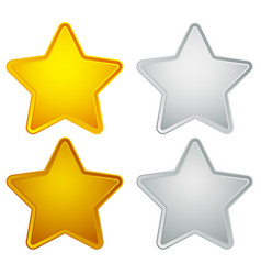 Gold silver bronze platinum star shapes isolated vector