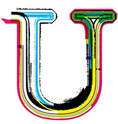 Grunge colorful font Letter U vector