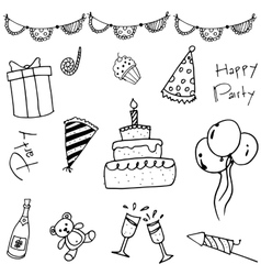 Hand draw doodle party vector