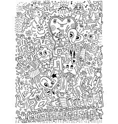 Hand drawn love doodles partydance and drink vector
