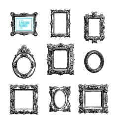 Hand drawn set with picture frames vector