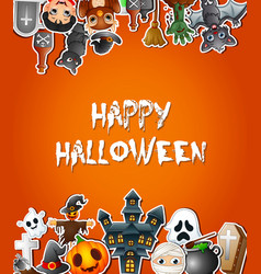 Happy halloween poster card celebrations with stic vector