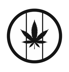 Hemp leaf on round rasta flag icon vector image