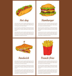 hot dog and french fries set vector image