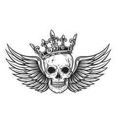 human skull with wings and crown for tattoo design vector image