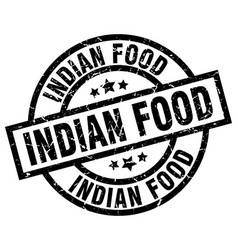 Indian food round grunge black stamp vector