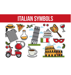 Italian national symbols promotional travel agency vector