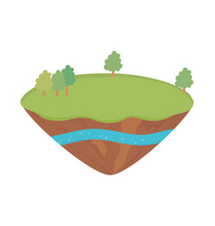 landscape trees soil layer water underground vector image