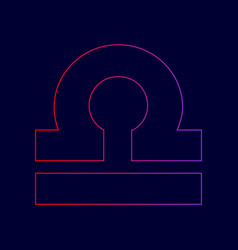 libra sign line icon with vector image