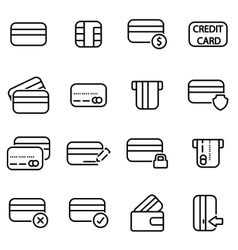 line credit card icon set vector image