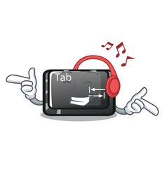 Listening music tab button attached to cartoon vector