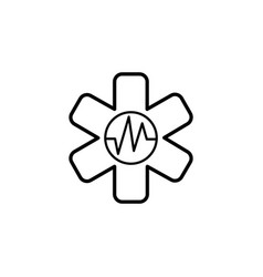 medical ambulance line icon black on white vector image